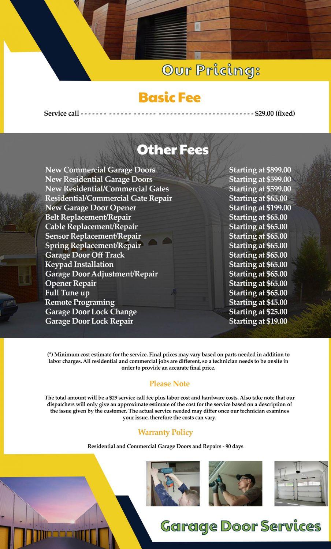Price List Sos Garage Door